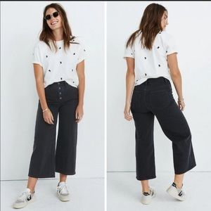 Madewell black wide leg crop jeans size W25 tall